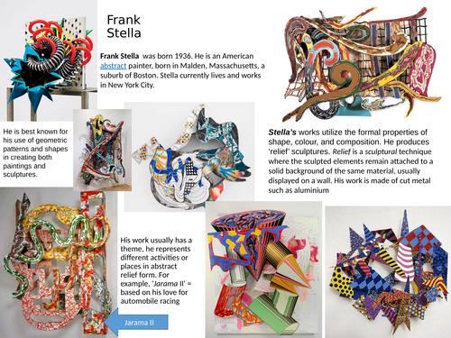 Art Cover work, Frank Stella, 3D Designing, Year 9, Questions, written work.