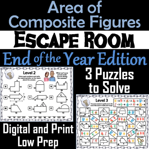Area of Composite Figures Game: Geometry Escape Room End ...