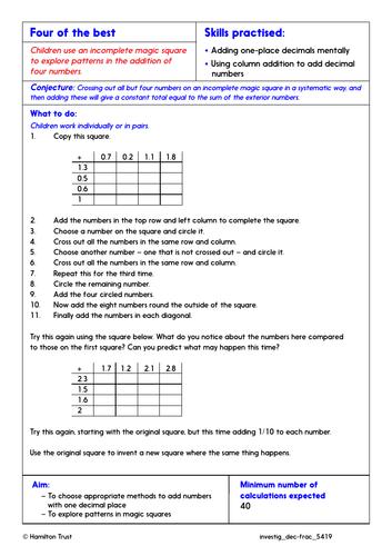 Column addition; 2-place decimals - Problem-Solving Investigation - Year 5