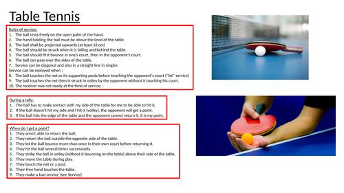 Table Tennis Activities