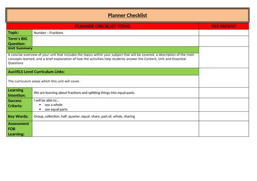Unit Planner Checklist Template