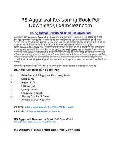 RS Aggarwal Reasoning Book Pdf Download by tutersdbacr | Teaching