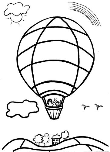 Colouring Sheet - Hot Air Balloon