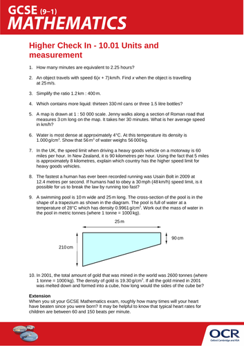 OCR Maths: Higher GCSE - Check In Test 10.01 Units and measurement