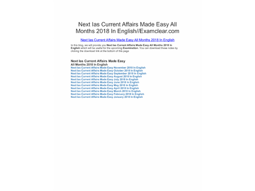 Next Ias Current Affairs Made Easy All Months 2018 In English
