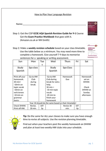 AQA GCSE Spanish 9-1 Plan your Revision - exemplar booklet to give to students