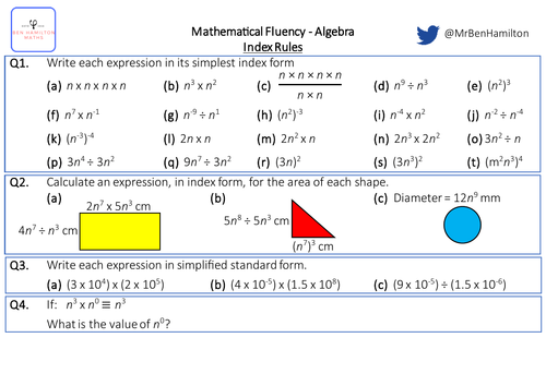 Index Rules with Algebra - Fluency: Directed Numbers, Area and Standard Form