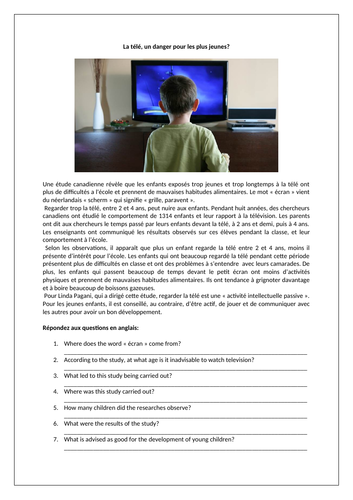 La télé / Television / Effects and dangers of television