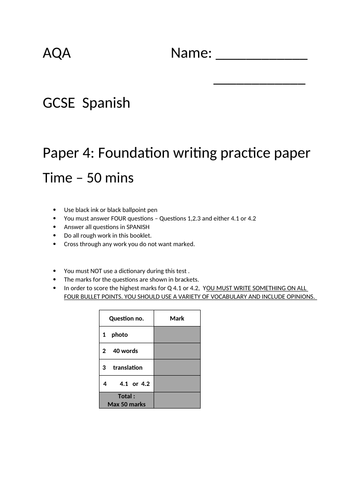 GCSE Spanish AQA - foundation writing paper practice 1 - TIME SAVER