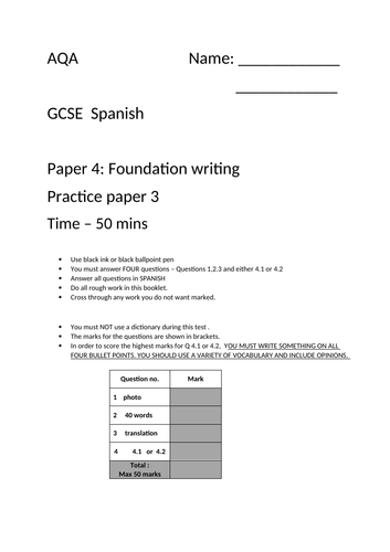 GCSE Spanish AQA  Foundation writing paper 3  - excellent time saver!
