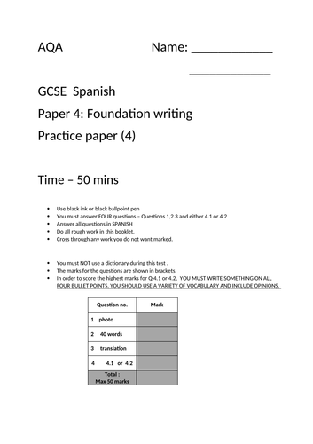 GCSE Spanish AQA  Foundation writing paper 4 - excellent time saver