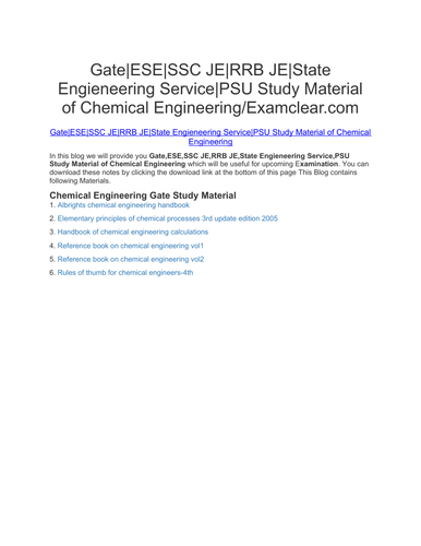 Gate|ESE|SSC JE|RRB JE|State Engieneering Service|PSU Study Material of Chemical Engineering/Examcle