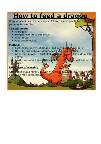 Instruction Texts (Year 4) - Key Features of an Instruction Text