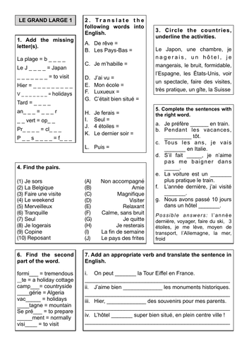 Revision Sheet 6 - Le Grand Large 1
