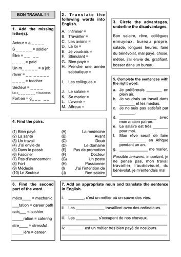 Revision Sheets 10 and 11 - Bon Travail