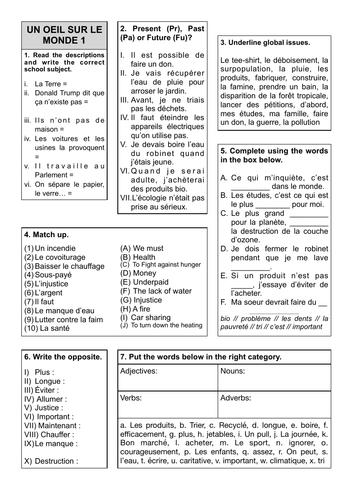 Revision Sheets 12 and 13 - Un Oeil sur le monde
