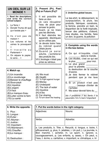 Revision Sheets 12 and 13 - Un Oeil sur le monde