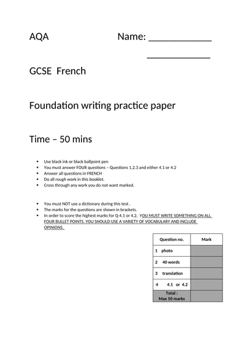 French AQA GCSE foundation writing practice paper 4 - Ready to go. 4 of 4