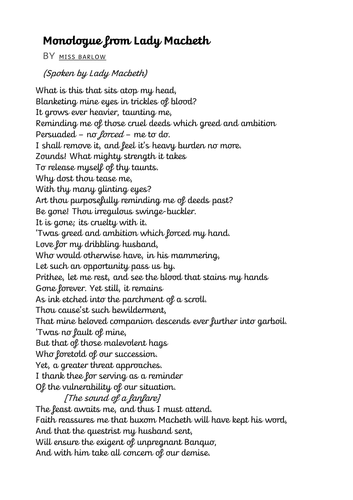 Example Monologue/Soliloquy from Lady Macbeth (teacher written) DIFFERENTIATED