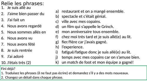 AQA GCSE French 9-1 Free time past weekend lesson