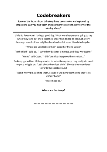 Codebreakers - Find the missing letters worksheet for KS2