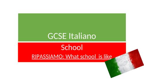NEW ITALIAN GCSE REVISION RESOURCES ON SCHOOL LIFE & SCHOOL ACTIVITES