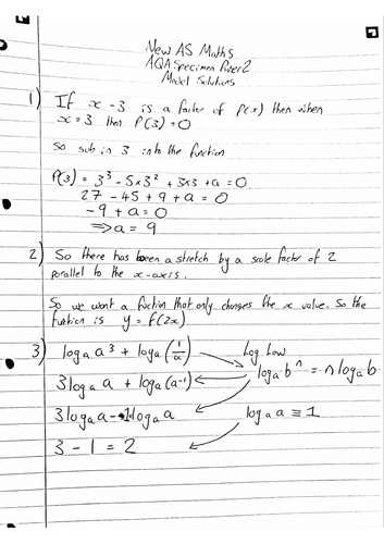 NEW A LEVEL MATHS, AQA AS SPECIMEN PAPER 2, Model Solutions
