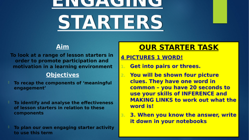 CPD for Inset day- Engaging Starters