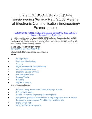 Gate|ESE|SSC JE|RRB JE|State Engieneering Service PSU Study