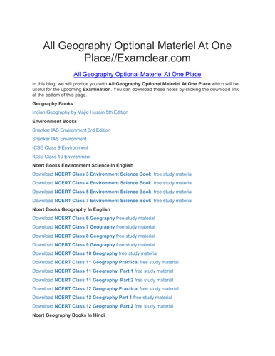 All Geography Optional Materiel At One Place//Examclear com by