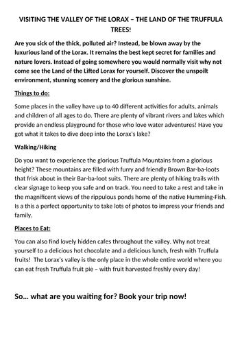 The Lorax - Persuasive Travel Brochure