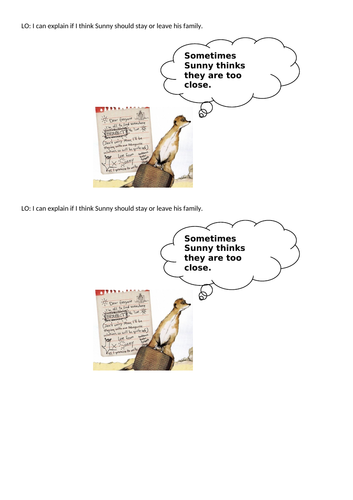 Meerkat mail thought bubble Year 1