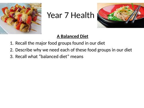KS3 Science Balanced diet Activate