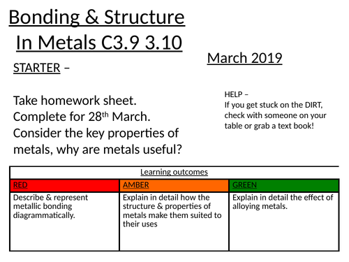 Metallic bonding & structure + Alloys