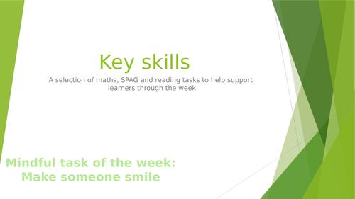 Key skills tasks- Monday to Friday