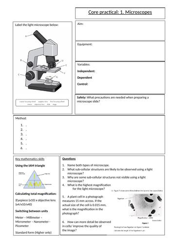 Biology GCSE Edexcel core practical 1 microscopes overview sheet. Revision