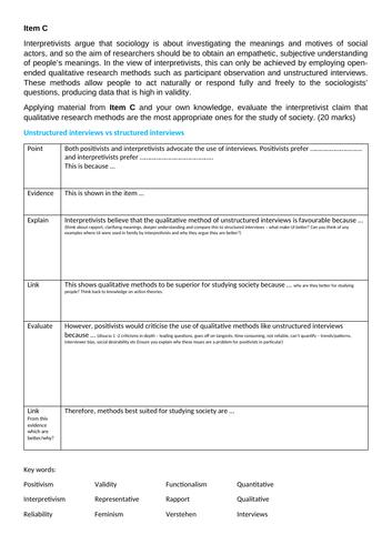Positivism vs Interpretivism Essay Modelling FULL LESSON