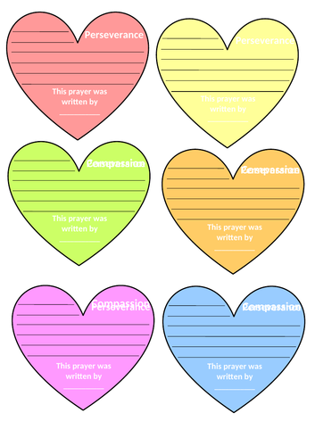 Heart Shapes Prayer Templates for Different Christian Values