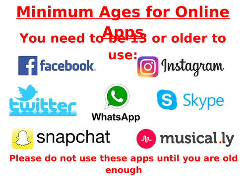 Minimum Age Computing software social media Posters to promote e-safety