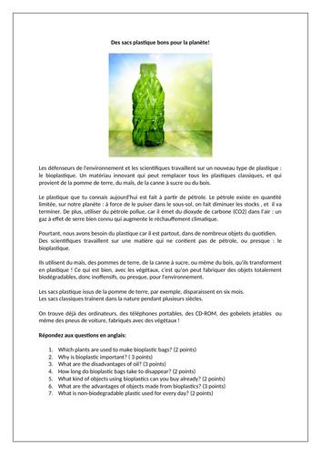 Le bioplastique / Bioplastics / Plastic / L'environnement / Environment