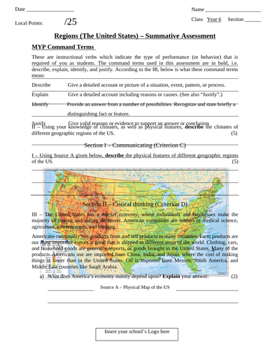 IB MYP Geography Summative Assessment - Regions (The United States)