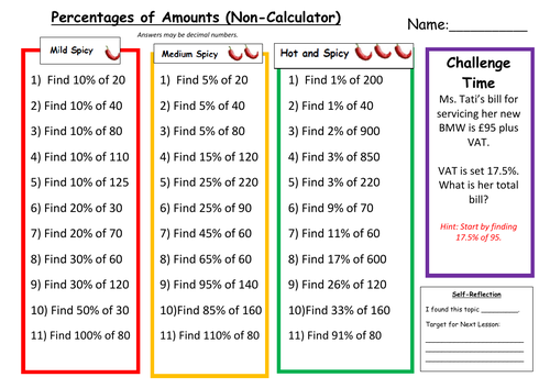 Percentage of Amounts Differentiated Worksheet with Answers