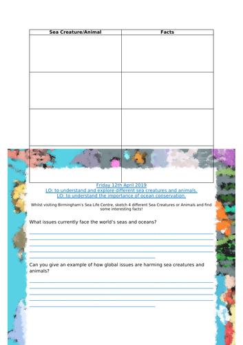 Sea Life Center Worksheet