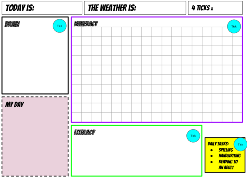 Learning mat/visual timetable for SEMH/anxiety/PDA/ASD