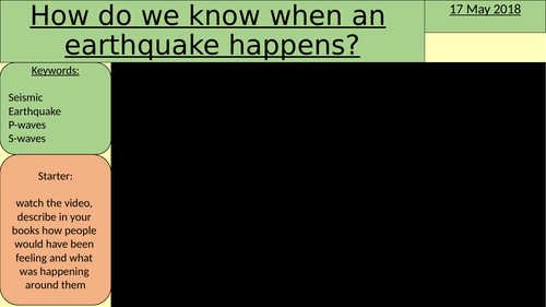 Earthquakes S waves and P waves (seismic waves)