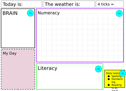 Learning mat/visual timetable for SEMH/anxiety/PDA/ASD (editable version)
