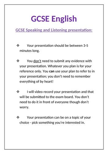 Speaking and Listening planning worksheet