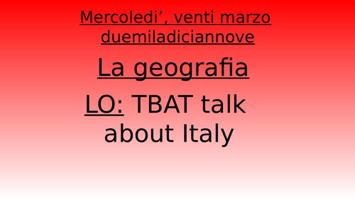 presentation about Italy and catchy song for KS3