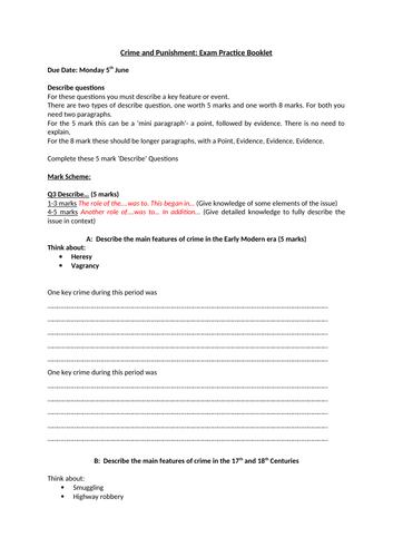 Eduqas History GCSE- Crime and Punishment Revision Booklet