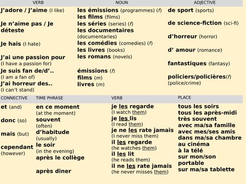 TV,films,books -'T'es branché' - Sentence builder (Y8Fr)